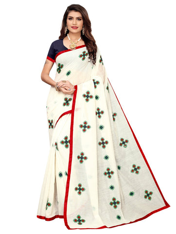 Red Color Chanderi Cotton Women's Saree - 148EKA03