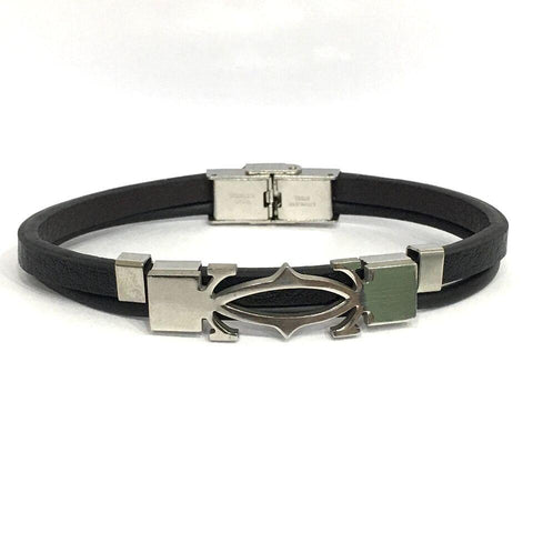 Black Color Leather Men's Bracelet - 14MBR08-GU