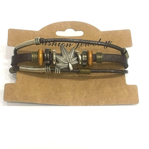 Black Color Leather Men's Bracelet - 14MBR10-BL