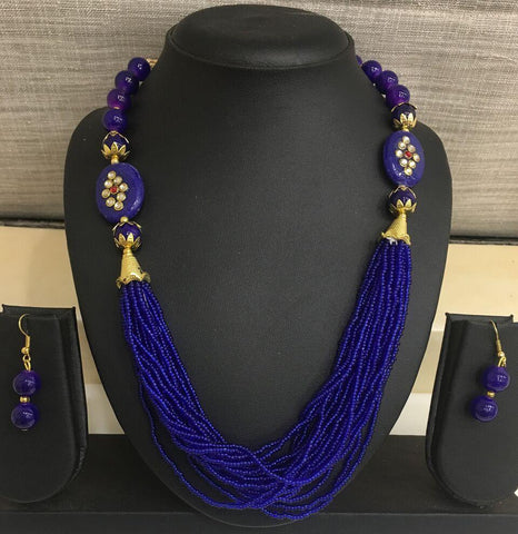 Dark Blue Color Alloy Necklace - 14NS59-db