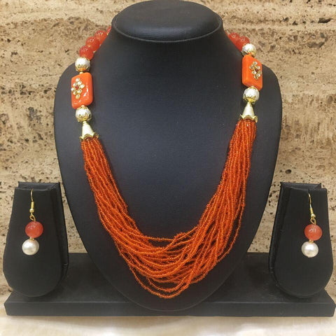 Orange Color Alloy Necklace - 14NS59-o