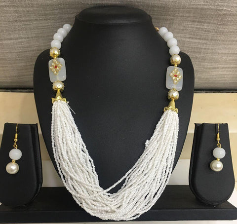 White Color Alloy Necklace - 14NS59-w