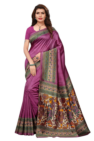 Magenta Color Khadi Silk Printed Saree - 14