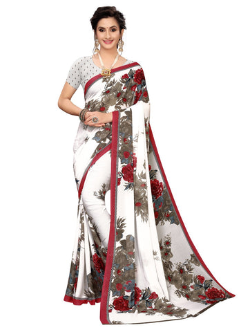 Maroon Color Georgette Women's Saree - 150EKA03