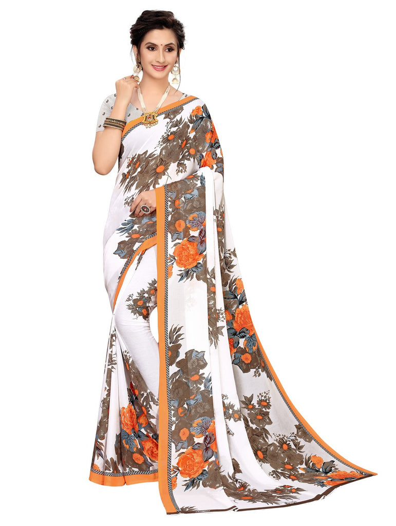 Buy Orange Color Georgette Women's Saree