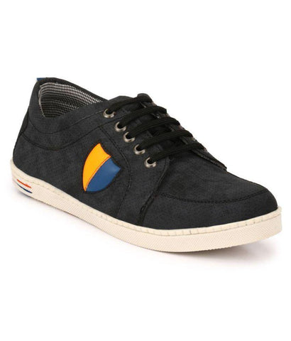 Black Color Synthetic Men's Sneakers - 150_Black