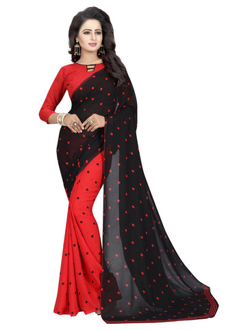 Red Color Georgette Women's Saree - 151EKA03