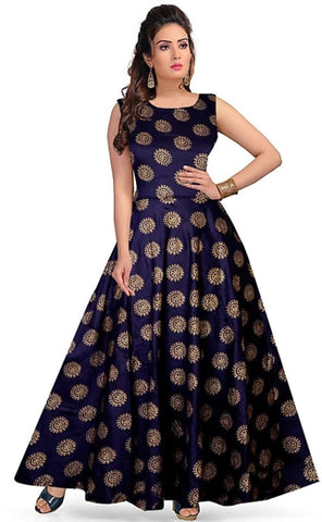 Navy Blue color Rayon Stitched Gown - 1524006XFDR