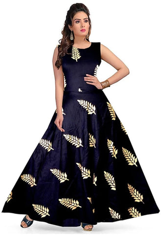 Navy Blue color Rayon Stitched Gown - 1524019XFDR