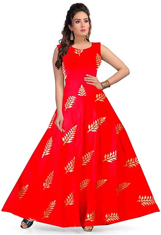 Red color Rayon Stitched Gown - 1524020XFDR