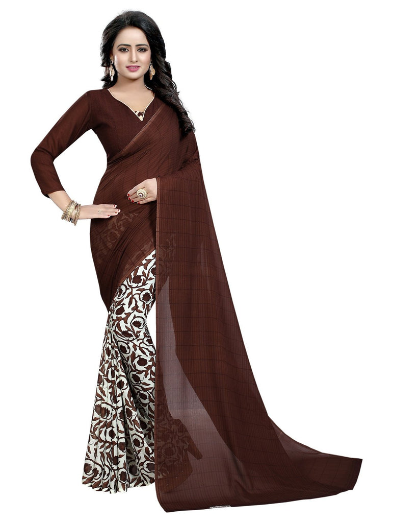 Buy Coffee Color Georgette Women's Saree
