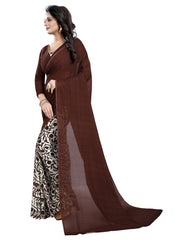 Coffee Color Georgette Women's Saree - 152EKA01
