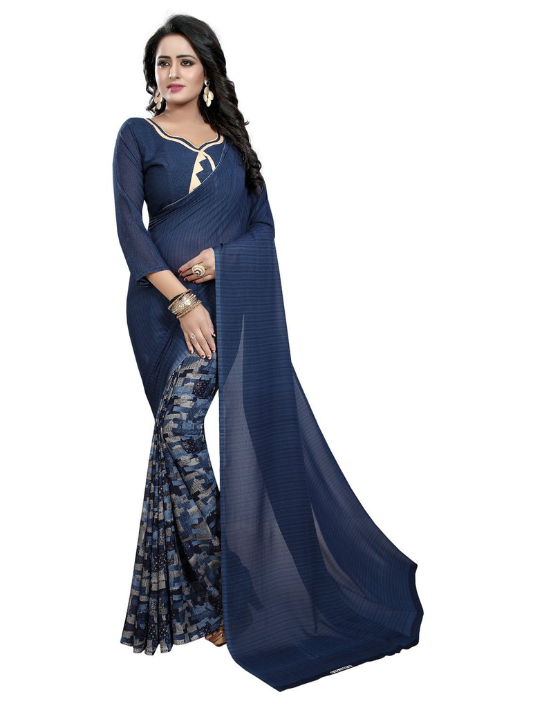 Buy Blue Color Georgette Women's Saree