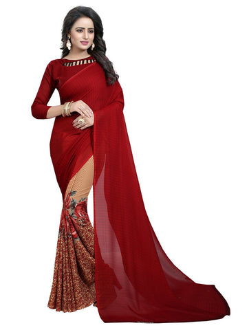 Maroon Color Georgette Women's Saree - 152EKA03