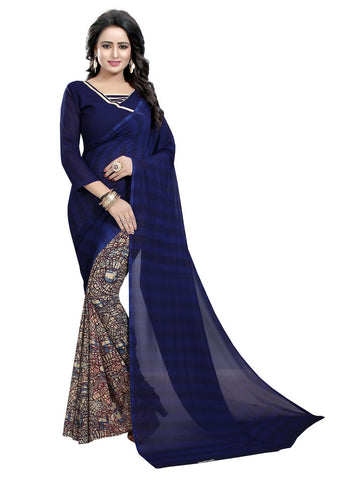 Navy Blue Color Georgette Women's Saree - 152EKA04