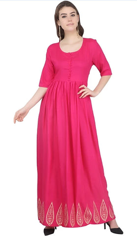 Pink color Rayon Stitched Gown - 1532549XFDR