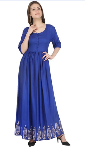 Blue color Rayon Stitched Gown - 1532551XFDR