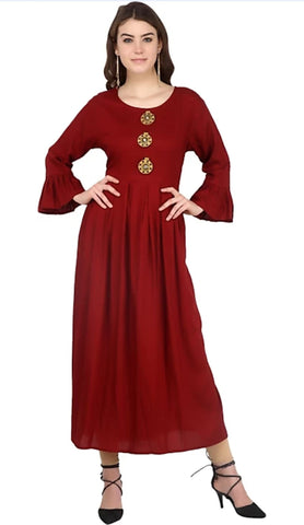 Maroon color Rayon Stitched Gown - 1532557XFDR