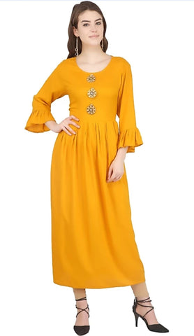 Yellow color Rayon Stitched Gown - 1532558XFDR