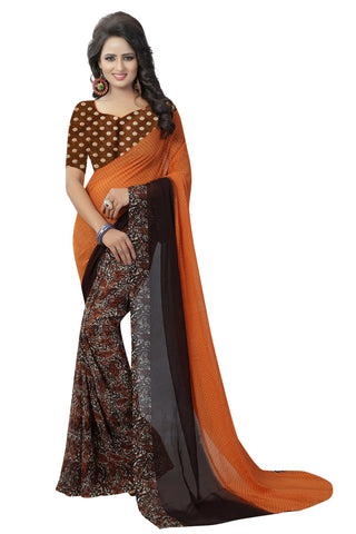 Orange Color Georgette Women's Saree - 154EKA03