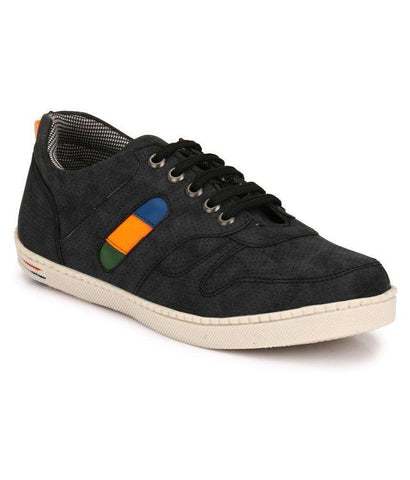 Black Color Synthetic Men's Sneakers - 154_Black