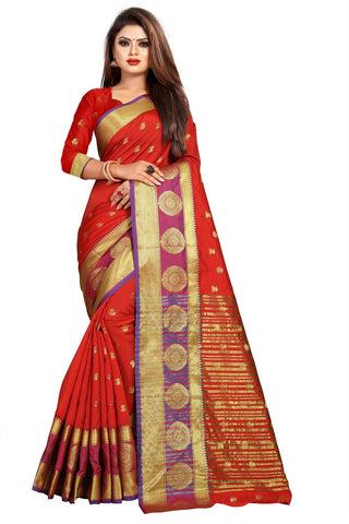 Red Color Banarasi Cotton Silk Women's Weaving Saree - 155A