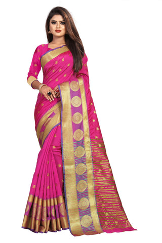 Pink Color Banarasi Cotton Silk Women's Weaving Saree - 155B