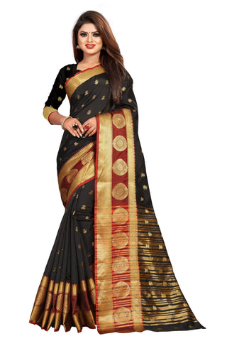 Black Color Banarasi Cotton Silk Women's Weaving Saree - 155C