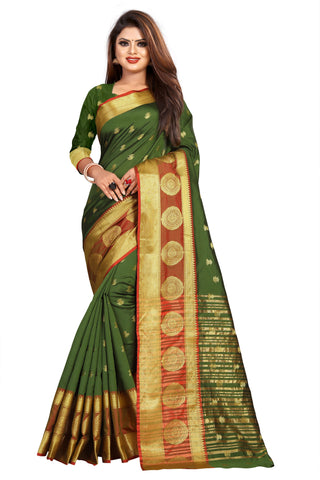 Green Color Banarasi Cotton Silk Women's Weaving Saree - 155D