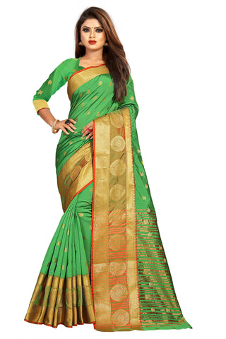 Parrot Green Color Banarasi Cotton Silk Women's Weaving Saree - 155E