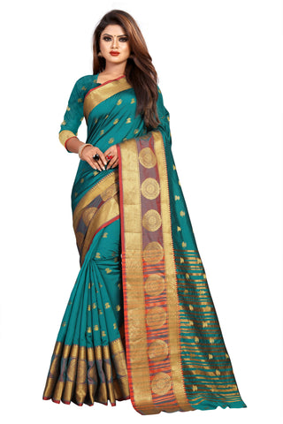 Teal Color Banarasi Cotton Silk Women's Weaving Saree - 155F