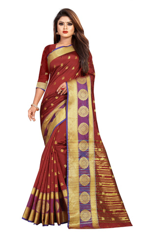 Maroon Color Banarasi Cotton Silk Women's Weaving Saree - 155G