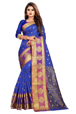 Blue Color Banarasi Cotton Silk Women's Weaving Saree - 155H