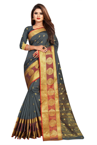 Grey Color Banarasi Cotton Silk Women's Weaving Saree - 155I