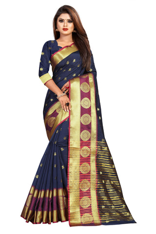 Navy Color Banarasi Cotton Silk Women's Weaving Saree - 155J