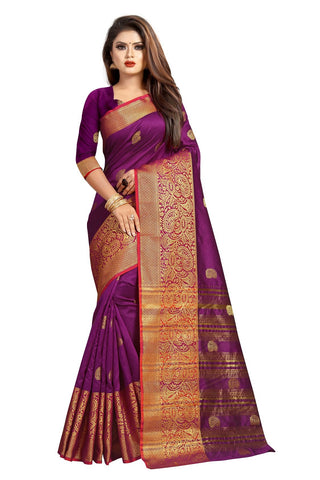 Purple Color Banarasi Cotton Silk Women's Weaving Saree - 156A