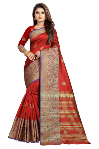 Red Color Banarasi Cotton Silk Women's Weaving Saree - 156B