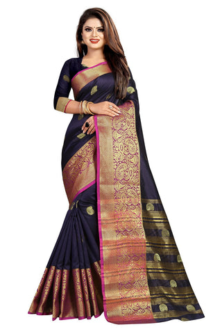 Black Color Banarasi Cotton Silk Women's Weaving Saree - 156C