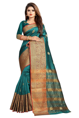 Teal Color Banarasi Cotton Silk Women's Weaving Saree - 156D