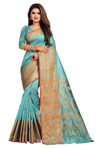 Sky Blue Color Banarasi Cotton Silk Women's Weaving Saree - 156E