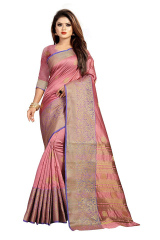Pink Color Banarasi Cotton Silk Women's Weaving Saree - 156F