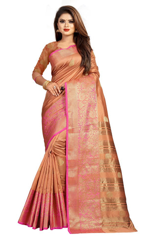 Peach Color Banarasi Cotton Silk Women's Weaving Saree - 156G