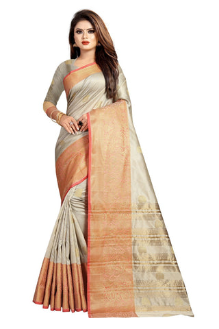 Beige Color Banarasi Cotton Silk Women's Weaving Saree - 156H