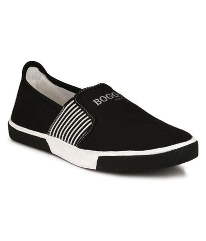 Black Color Fabric Men's Sneakers - 159_Black