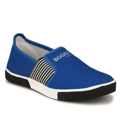 Blue Color Fabric Men's Sneakers - 159_Blue