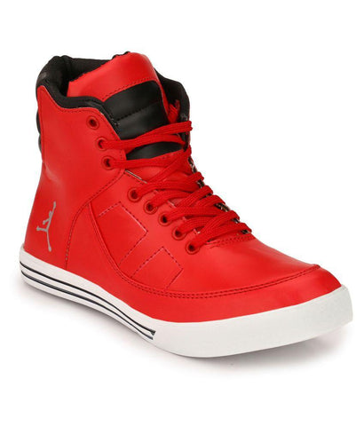 Red Color Synthetic Men's Casual Shoes - 160_Red