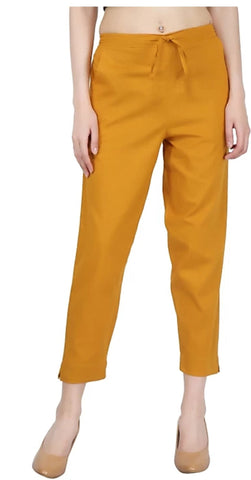 Yellow Color Cotton Slub Women's Pant - 1613058PNT