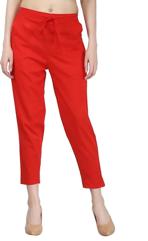 Red Color Cotton Slub Women's Pant - 1613059PNT