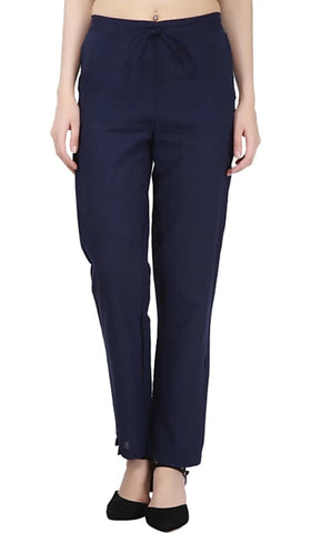 Navy Blue Color Cotton Slub Women's Pant - 1613060PNT