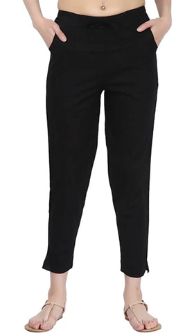 Black Color Cotton Slub Women's Pant - 1613061PNT